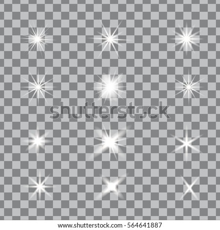 Glowing lights, stars and sparkles. Isolated on black transparent background. Vector illustration