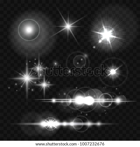 Glowing lights, stars and sparkles. Vector illustration on transparent background, eps 10.