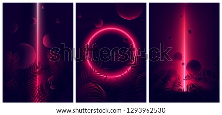 Glowing line red neon reflex on tropical leaves and spheres, Futuristic gradient glow on dark background, Vector retro poster for your design