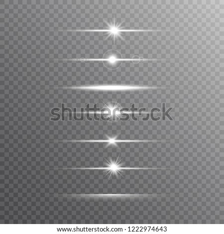 Glowing line set on transparent background. Shine beams. Realistic lens flare set. Flash with rays and spotlight. Glowing lights, stars and sparkles. Glittering sun beams. Vector illustration.