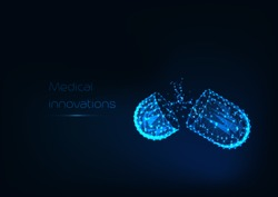 Glowing low polygonal open medicines capsule with powder drugs isolated on dark blue background. Medical innovations concept. Futuristic wireframe design vector illustration.