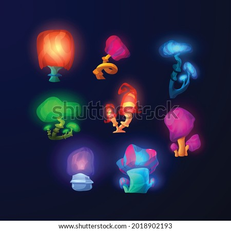 Glowing magic fantasy mushrooms collection, flat vector illustration isolated on dark background. Bright luminescent colors shiny unusual mushroom shaped plants.