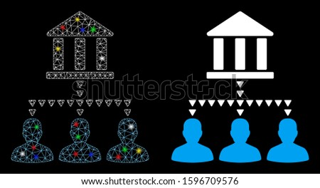 Glowing mesh bank building client links icon with sparkle effect. Abstract illuminated model of bank building client links. Shiny wire frame polygonal mesh bank building client links icon.