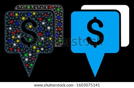 Glowing mesh bank map pointers icon with glare effect. Abstract illuminated model of bank map pointers. Shiny wire carcass triangular network bank map pointers icon.