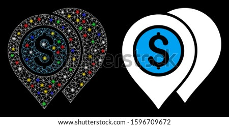 Glowing mesh bank map pointers icon with glitter effect. Abstract illuminated model of bank map pointers. Shiny wire carcass polygonal mesh bank map pointers icon.