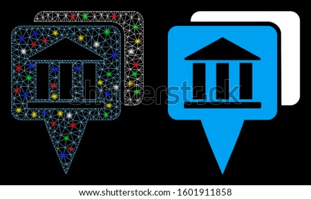Glowing mesh bank map pointers icon with glow effect. Abstract illuminated model of bank map pointers. Shiny wire carcass polygonal network bank map pointers icon.
