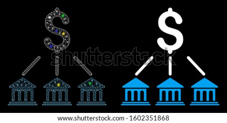 Glowing mesh bank organization icon with sparkle effect. Abstract illuminated model of bank organization. Shiny wire frame triangular network bank organization icon.