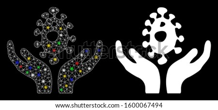 Glowing mesh biotechnology care hands icon with lightspot effect. Abstract illuminated model of biotechnology care hands. Shiny wire carcass triangular mesh biotechnology care hands icon.