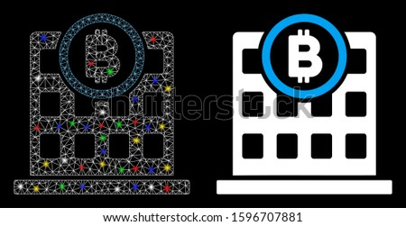 Glowing mesh Bitcoin corporation building icon with sparkle effect. Abstract illuminated model of Bitcoin corporation building. Shiny wire frame polygonal mesh Bitcoin corporation building icon.
