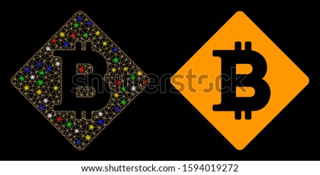 Glowing mesh bitcoin rhombus icon with lightspot effect. Abstract illuminated model of bitcoin rhombus. Shiny wire carcass polygonal mesh bitcoin rhombus icon.