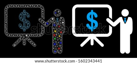Glowing mesh business plan presentation icon with sparkle effect. Abstract illuminated model of business plan presentation. Shiny wire carcass triangular mesh business plan presentation icon.