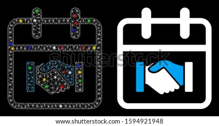 Glowing mesh contract day icon with glare effect. Abstract illuminated model of contract day. Shiny wire carcass polygonal network contract day icon. Vector abstraction on a black background.