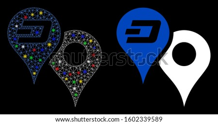 Glowing mesh Dashcoin map pointers icon with glow effect. Abstract illuminated model of Dashcoin map pointers. Shiny wire carcass polygonal mesh Dashcoin map pointers icon.