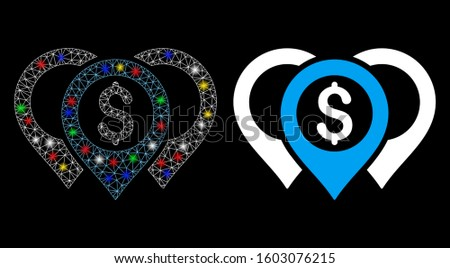 Glowing mesh dollar map pointers icon with glare effect. Abstract illuminated model of dollar map pointers. Shiny wire carcass triangular mesh dollar map pointers icon.