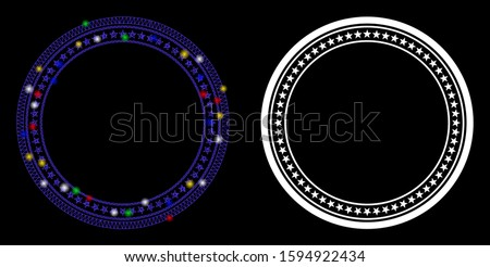 Glowing mesh double circular star frame icon with glow effect. Abstract illuminated model of double circular star frame. Shiny wire frame polygonal mesh double circular star frame icon.