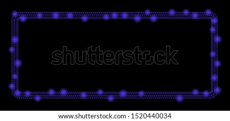 Glowing mesh double rounded rectangle frame with lightspot effect. Abstract illuminated model of double rounded rectangle frame icon. Shiny wire frame polygonal mesh double rounded rectangle frame.
