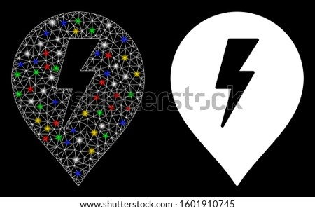 Glowing mesh electric shock marker icon with glare effect. Abstract illuminated model of electric shock marker. Shiny wire carcass triangular mesh electric shock marker icon.