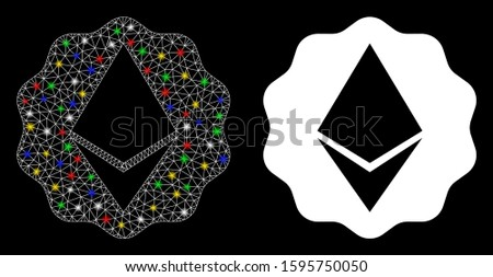 Glowing mesh Ethereum badge seal icon with sparkle effect. Abstract illuminated model of Ethereum badge seal. Shiny wire carcass triangular mesh Ethereum badge seal icon.