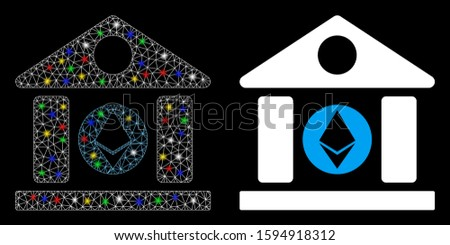 Glowing mesh Ethereum corporation building icon with lightspot effect. Abstract illuminated model of Ethereum corporation building.