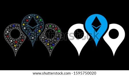 Glowing mesh Ethereum map pointers icon with lightspot effect. Abstract illuminated model of Ethereum map pointers. Shiny wire frame polygonal mesh Ethereum map pointers icon.