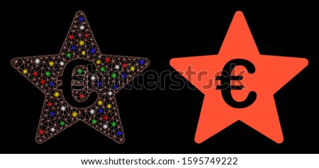 Glowing mesh Euro hit parade star icon with lightspot effect. Abstract illuminated model of Euro hit parade star. Shiny wire carcass polygonal mesh Euro hit parade star icon.