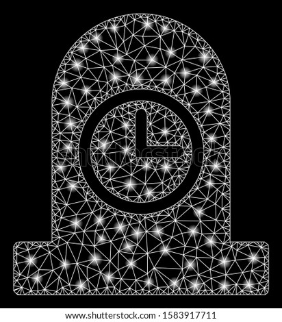 Glowing mesh expired grave with lightspot effect. Abstract illuminated model of expired grave icon. Shiny wire carcass triangular mesh expired grave. Vector abstraction on a black background.