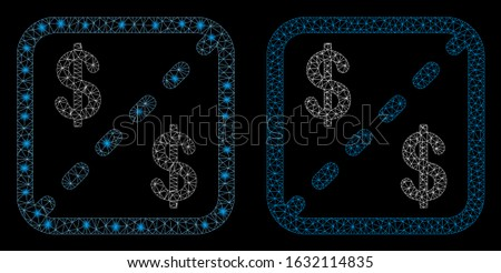 Glowing mesh financial shares with glare effect. Abstract illuminated model of financial shares icon. Shiny wire carcass triangular mesh financial shares icon.