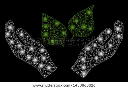 Glowing mesh flora care hands with glitter effect. Abstract illuminated model of flora care hands icon. Shiny wire frame polygonal mesh flora care hands. Vector abstraction on a black background.