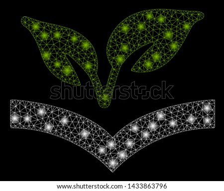 Glowing mesh flora knowledge with sparkle effect. Abstract illuminated model of flora knowledge icon. Shiny wire frame polygonal mesh flora knowledge. Vector abstraction on a black background.