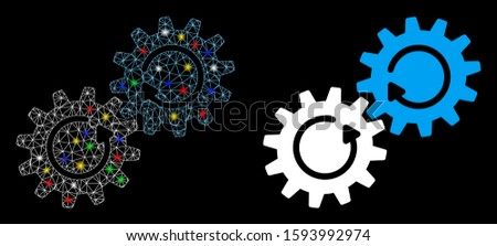 Glowing mesh gear mechanism rotation icon with glitter effect. Abstract illuminated model of gear mechanism rotation. Shiny wire carcass triangular mesh gear mechanism rotation icon.