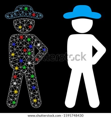 Glowing mesh gentleman audacity icon with glitter effect. Abstract illuminated model of gentleman audacity. Shiny wire carcass triangular mesh gentleman audacity icon.