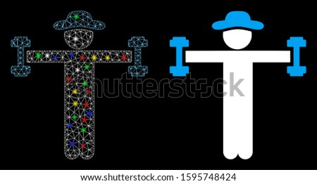 Glowing mesh gentleman fitness icon with glow effect. Abstract illuminated model of gentleman fitness. Shiny wire frame polygonal mesh gentleman fitness icon. Vector abstraction on a black background.