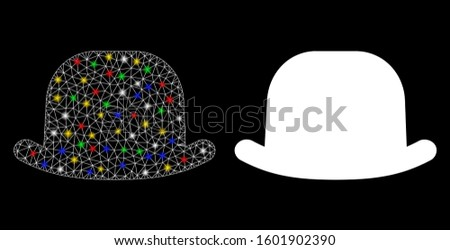 Glowing mesh gentleman hat icon with glitter effect. Abstract illuminated model of gentleman hat. Shiny wire frame triangular mesh gentleman hat icon. Vector abstraction on a black background.