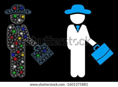 Glowing mesh gentleman manager icon with glare effect. Abstract illuminated model of gentleman manager. Shiny wire carcass polygonal mesh gentleman manager icon.