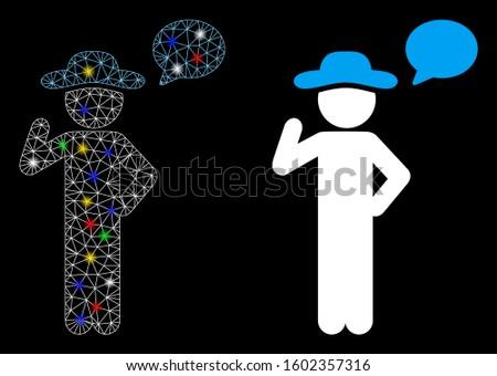 Glowing mesh gentleman speech icon with sparkle effect. Abstract illuminated model of gentleman speech. Shiny wire frame triangular mesh gentleman speech icon.