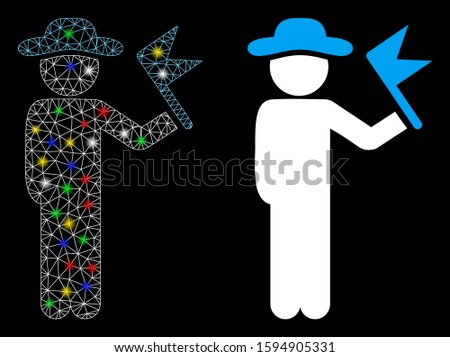 Glowing mesh gentleman with flag icon with glow effect. Abstract illuminated model of gentleman with flag. Shiny wire carcass polygonal mesh gentleman with flag icon.
