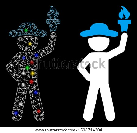 Glowing mesh gentleman with freedom torch icon with glow effect. Abstract illuminated model of gentleman with freedom torch. Shiny wire carcass triangular mesh gentleman with freedom torch icon.