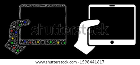Glowing mesh hand holds tablet icon with sparkle effect. Abstract illuminated model of hand holds tablet. Shiny wire frame polygonal mesh hand holds tablet icon.