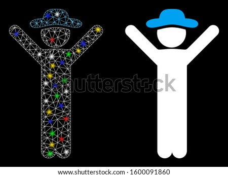 Glowing mesh happy gentleman icon with glow effect. Abstract illuminated model of happy gentleman. Shiny wire frame polygonal mesh happy gentleman icon. Vector abstraction on a black background.
