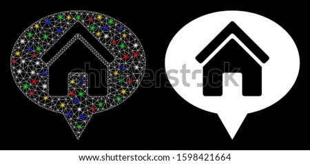 Glowing mesh house info balloon icon with lightspot effect. Abstract illuminated model of house info balloon. Shiny wire carcass polygonal mesh house info balloon icon.