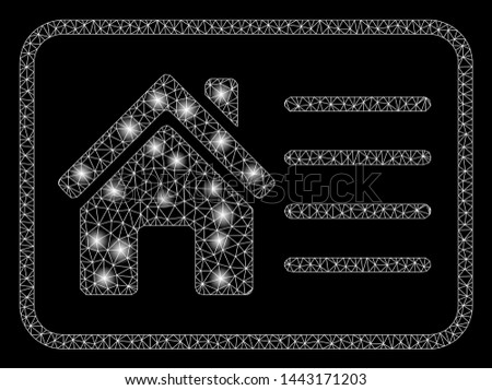 Glowing mesh house info card with glare effect. Abstract illuminated model of house info card icon. Shiny wire carcass polygonal mesh house info card. Vector abstraction on a black background.