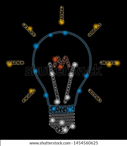Glowing mesh invent bulb with glare effect. Abstract illuminated model of invent bulb icon. Shiny wire frame polygonal mesh invent bulb. Vector abstraction on a black background.