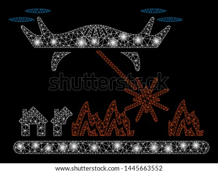 Glowing mesh laser drone attacks village with glow effect. Abstract illuminated model of laser drone attacks village icon. Shiny wire frame polygonal mesh laser drone attacks village.