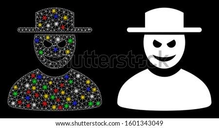 Glowing mesh malevolent gentleman icon with glare effect. Abstract illuminated model of malevolent gentleman. Shiny wire carcass triangular mesh malevolent gentleman icon.