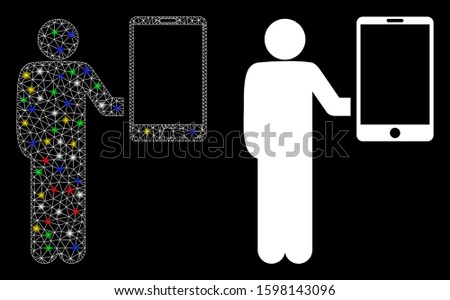 Glowing mesh man holds smartphone icon with glow effect. Abstract illuminated model of man holds smartphone. Shiny wire frame triangular network man holds smartphone icon.