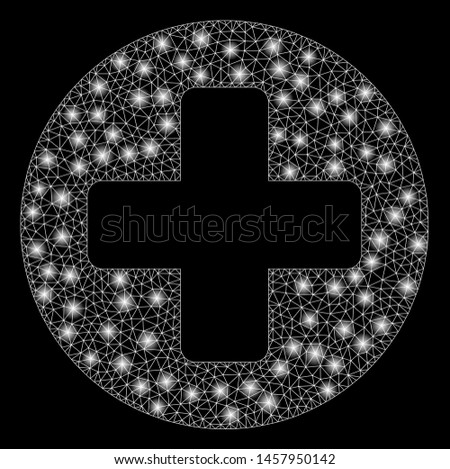 Glowing mesh medical rounded cross with sparkle effect. Abstract illuminated model of medical rounded cross icon. Shiny wire carcass polygonal mesh medical rounded cross.