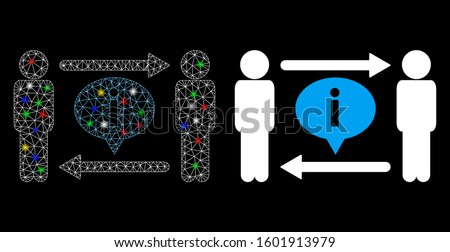 Glowing mesh men information exchange icon with glitter effect. Abstract illuminated model of men information exchange. Shiny wire carcass triangular network men information exchange icon.