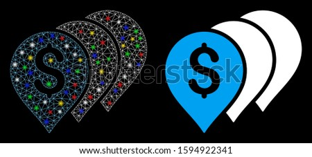 Glowing mesh money map pointers icon with glare effect. Abstract illuminated model of money map pointers. Shiny wire frame polygonal mesh money map pointers icon.