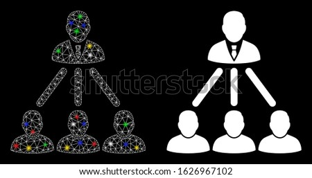 Glowing mesh people organization structure icon with glow effect. Abstract illuminated model of people organization structure. Shiny wire frame polygonal mesh people organization structure icon.