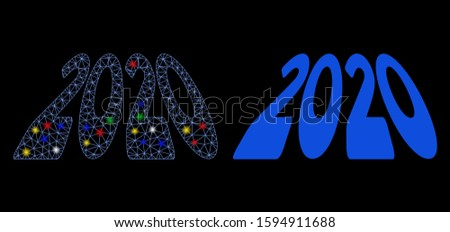 Glowing mesh 2020 perspective text icon with glare effect. Abstract illuminated model of 2020 perspective text. Shiny wire frame polygonal mesh 2020 perspective text icon.